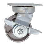4 Inch Kingpinless Swivel Caster with Semi Steel Wheel, Ball Bearings, and Brake