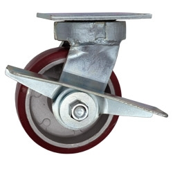 5 Inch Kingpinless Swivel Caster with Polyurethane Tread on Aluminum Core Wheel and Brake