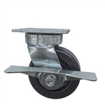 5 Inch Kingpinless Swivel Caster with Phenolic Wheel, Ball Bearings, and Brake