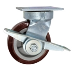 5 Inch Kingpinless Swivel Caster with Polyurethane on Polyolefin Wheel, Ball Bearings, and Brake