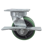 5 Inch Kingpinless Swivel Caster with Polyurethane Tread Wheel, Ball Bearings, and Brake