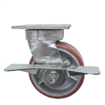 5 Inch Kingpinless Swivel Caster with Polyurethane Tread Wheel, Ball Bearings and Brake