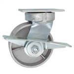 5 Inch Kingpinless Swivel Caster with Semi Steel Wheel, Ball Bearings, and Brake