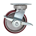 6 Inch Swivel Caster with Polyurethane Tread on Aluminum Core Wheel, Ball Bearings, and Brake