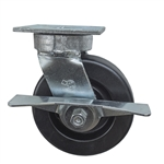 6 Inch Kingpinless Swivel Caster with Phenolic Wheel, Ball Bearings, and Brake