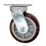 6 Inch Kingpinless Swivel Caster with Polyurethane Tread on Poly Core Wheel and Ball Bearings