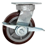 6 Inch Kingpinless Swivel Caster with Polyurethane Tread on Poly Core Wheel, Ball Bearings, and Brake