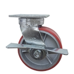 6 Inch Kingpinless Swivel Caster with Polyurethane Tread Wheel, Ball Bearings, and Brake