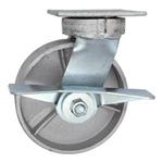 6 Inch Kingpinless Swivel Caster with Brake, Semi Steel Wheel and Ball Bearings