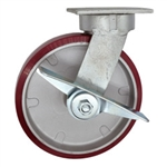 8 Inch Kingpinless Swivel Caster with Polyurethane Tread on Aluminum Core Wheel and Brake