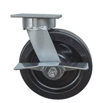 8 Inch Kingpinless Swivel Caster with Phenolic Wheel, Ball Bearings, and Brake