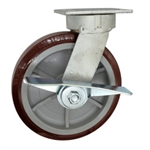 8 Inch Kingpinless Swivel Caster with Polyurethane Tread on Poly Core Wheel, Ball Bearings, and Brake