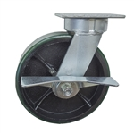 8 Inch Swivel Caster with Polyurethane Tread Wheel, Ball Bearings, and Brake