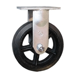 10 Inch Rigid Caster with Rubber Tread on Cast Iron Wheel