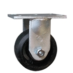 6 Inch Rigid Caster with Rubber on Cast Iron Wheel
