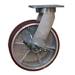 10 Inch Kingpinless Swivel Caster with Polyurethane Tread on Aluminum Wheel and Side Lock Brake