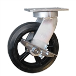 10 Inch Kingpinless Swivel Caster with Rubber Tread Wheel and Side Lock Brake