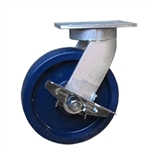 10 Inch Kingpinless Swivel Caster with Solid Polyurethane Wheel and Side Lock Brake