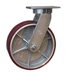 12 Inch Kingpinless Swivel Caster with Polyurethane Tread on Aluminum Core Wheel