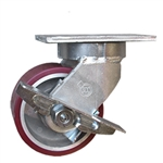6 Inch Swivel Caster with Polyurethane Tread on Aluminum Wheel and Side Lock Brake