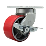 6 Inch Swivel Caster with Polyurethane Tread Wheel and Side Lock Brake