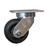 6 Inch Kingpinless Swivel Caster with Rubber on Cast Iron Core Wheel