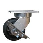 "6"" Kingpinless Swivel Caster with Rubber on Cast Iron Wheel and Side Lock Brake"