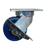 6 Inch Heavy Duty Kingpinless Swivel Caster with Polyurethane Wheel and Side Lock Brake