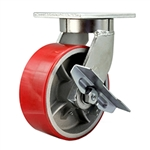 8 Inch Swivel Caster with Polyurethane Tread Wheel and Side Lock Brake