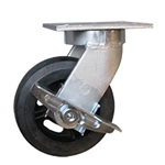 Kingpinless Swivel Caster with Rubber on Cast Core Wheel and Side Lock Brake