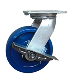 8 Inch Kingpinless Swivel Caster with Polyurethane Wheel and Side Lock Brake
