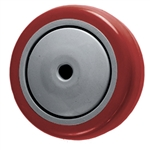 "3-1/2"" x 1-1/4"" Red Polyurethane Tread on Poly Wheel"