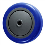 "4"" x 1-1/4"" Blue Polyurethane Tread on Poly Wheel"