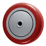 "4"" x 1-1/4"" Red Polyurethane on Poly Wheel for Casters"