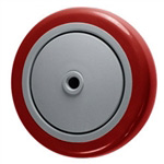 "5"" x 1-1/4""  Red Polyurethane on Poly Wheel"