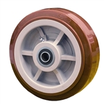 "8"" x 2"" Polyurethane on Poly Wheel with Ball Bearings"