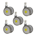 set of five 2 inch gray MRI safe casters