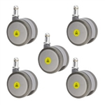 set of five 2-3/8 inch gray MRI safe casters