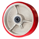 "6"" x 2"" Polyurethane on Cast Iron Wheel with Ball Bearings"