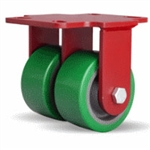4 Inch dual wheel Rigid Caster with polyurethane on cast core wheels