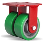 5 Inch dual wheel Rigid Caster with polyurethane on cast core wheels