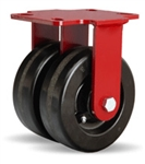 6 Inch dual wheel Rigid Caster with phenolic wheels