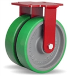 8 Inch dual wheel Rigid Caster with polyurethane on cast core wheels