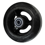 "6"" x 2"" rubber on cast iron wheel with ball bearings"