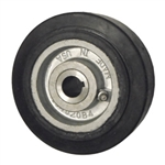 "5"" x 2"" rubber on cast iron drive wheel with metric bore"