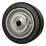 "6"" x 3"" rubber on cast iron drive wheel"