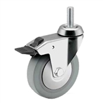 3 inch Total Lock swivel caster with threaded stem for hospital applications