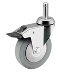 4 inch Total Lock swivel caster with grip ring stem for hospital applications