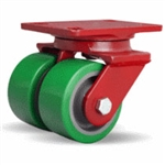 4 Inch dual wheel Swivel Caster with polyurethane on cast core wheels