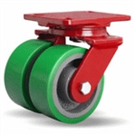 5 Inch dual wheel Swivel Caster with polyurethane on cast core wheels